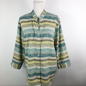 Alfred Dunner • Green Striped Top